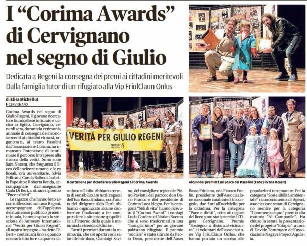 M'illumino di Meno Corima Awards Teatro Pasolini
